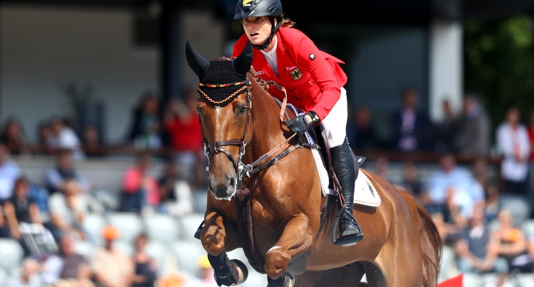 Simone Blum (GER) & DSP Alice (Askari – Landblume/Landrebell) podczas ME 2019 w Rotterdamie, fot. Mouhtaropoulos/Getty Images for FEI